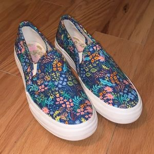 Keds x Rifle Paper Co Blue Slip-on Sneakers